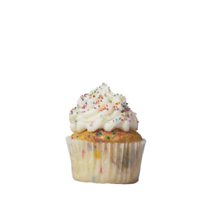 mini vanilla birthday cupcake