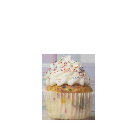 mini vanilla birthday cupcake