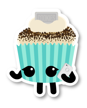 Cupcake friend talking on a cell phone