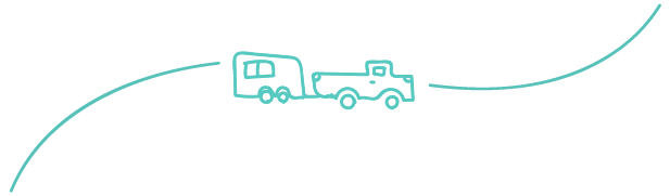 Hand-drawn truck and trailer icon.